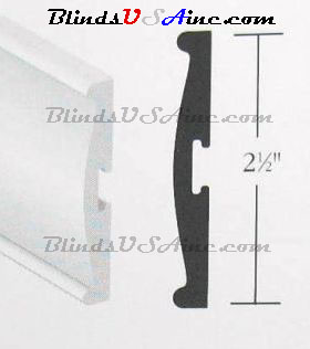A 2.5 inch horizontal blind valance should be measured from the back to determine the correct size valance clip needed.