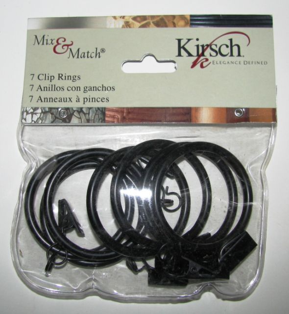 "Kirsch Mix & Match  1-1/8"" Cafe' Clip-On Rings, finish black, pack of 7"