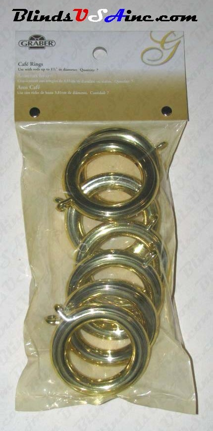 "Graber 1-1/2"" Cafe Rings with Eyelet, Finish: Brass, pack of 7, Part # 5-810-8 b"