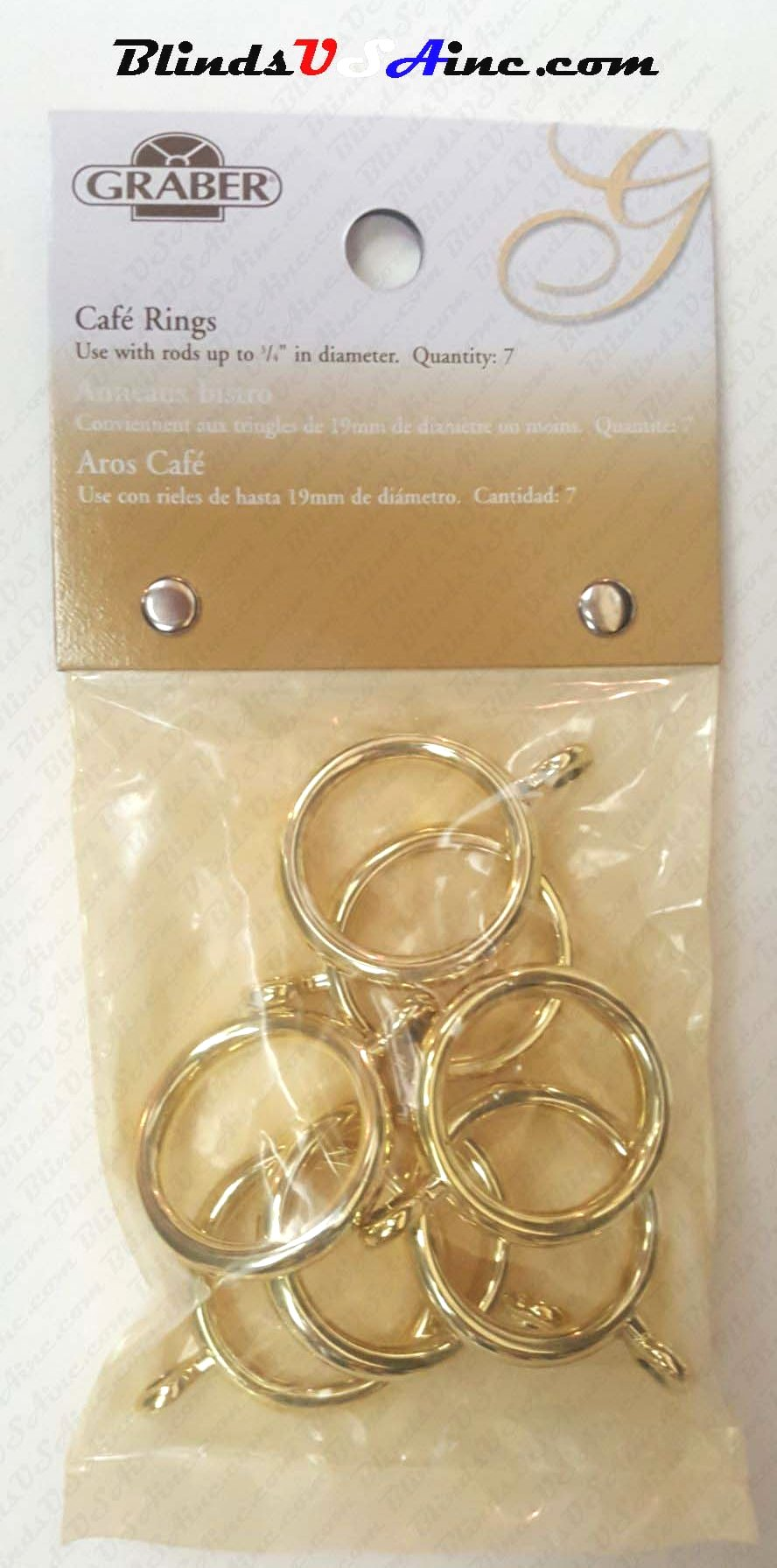 "Graber 3/4"" Cafe' Rings with Eyelet, finish brass, pack of 7, Part # 5-840-8"