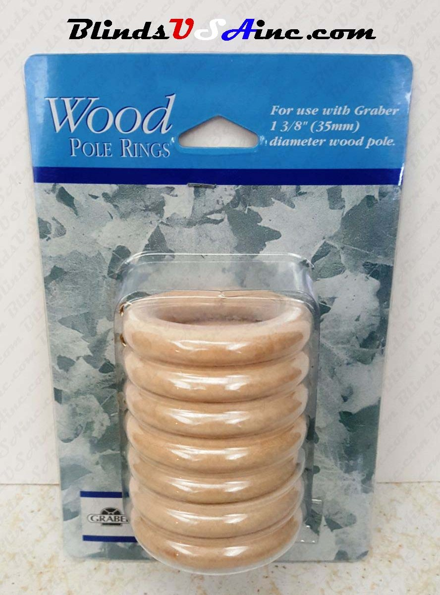 "Graber 1-3/8"" Wood Pole Ring, pack of 7, finish natural, Part # 3-552-0"