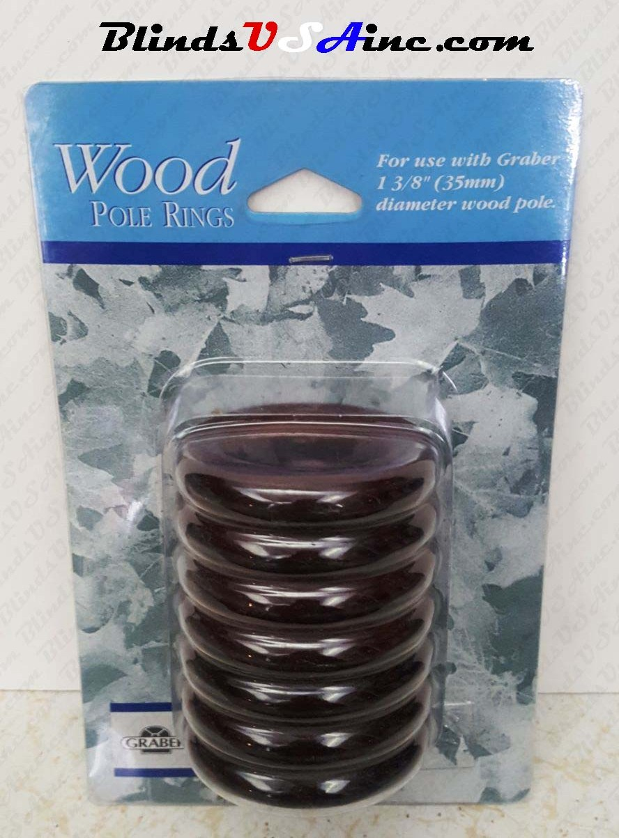 "Graber 1-3/8"" Wood Pole Ring, pack of 7, finish cherry, Part # 3-552-77"