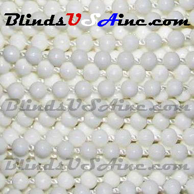 #6 Plastic Beaded Chain/Cord, White Bead, 3.1mm Bead, Plastic Beaded Cord