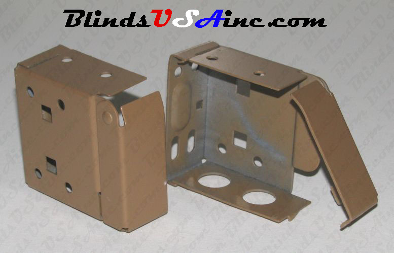 Horizontal blind box end brackets, High Profile, color is cocoa
