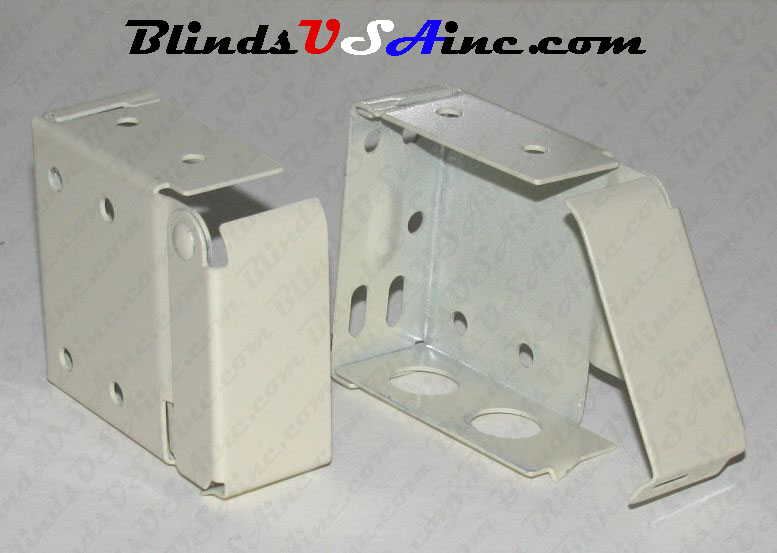 Horizontal blind box end brackets, High Profile, color is vanilla