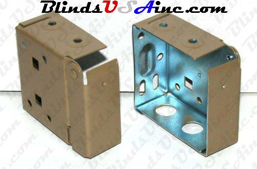 Horizontal blind box end brackets, High Profile, color is camel