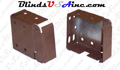 Horizontal blind box end brackets, High Profile, color is dark brown