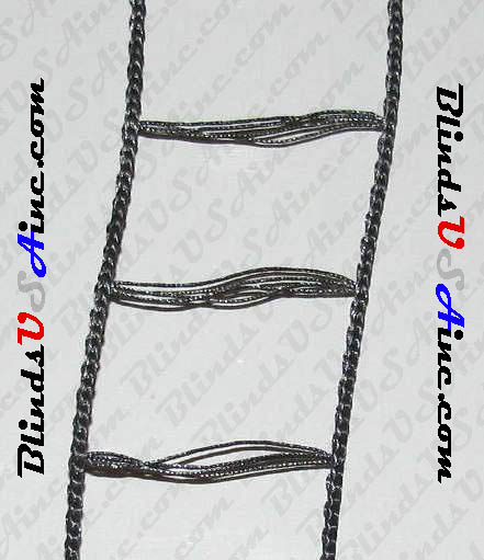 "Mini Blind Ladder Cord, Color Pitch Black #233, 1-1/8"" inside width"