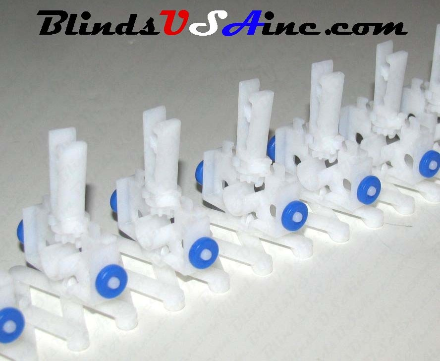 8 Prong Self Aligning Vertical Blind Carriers with blue wheel