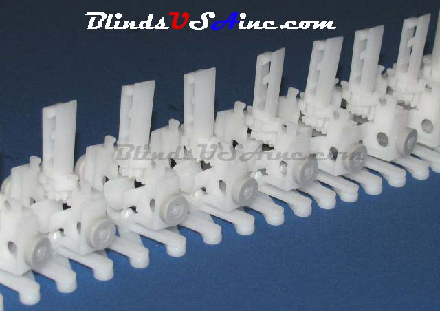8 Prong Self Aligning Vertical Blind Carriers with gray wheel
