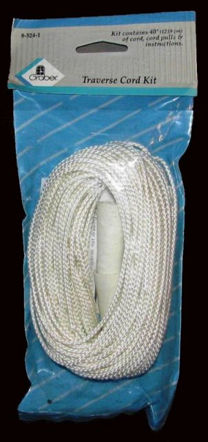 Graber Traverse rod cord kit, 40 feet of 2.9 millimeter cord, 2 cord pulls, Part # 8-524-1, color white