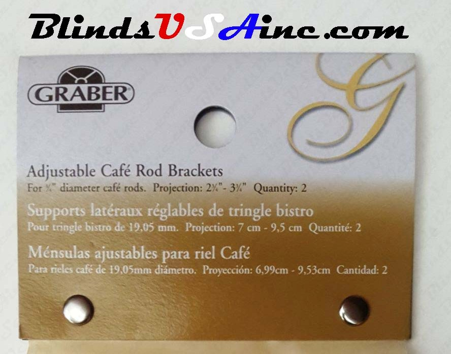 Graber 3/4 inch Cafe' Rod Brass Support Bracket, label, Item # DRP-Cafe2-365-8, Part # 2-365-8