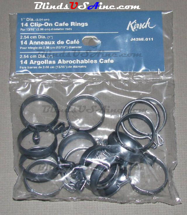 Kirsch 1 inch Cafe' Clip On Rings, pack of 14, Finish: Antique Pewter, Item # DRP-CAFE-011