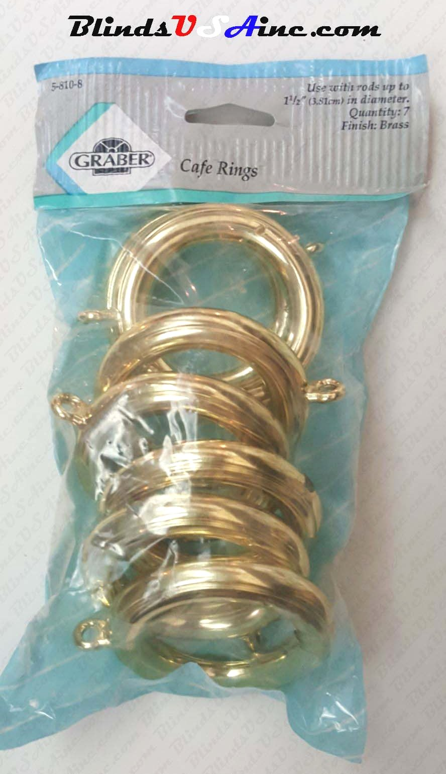 Graber Cafe Rings with Eyelet, pack of 7, finish brass, 1-3/4 inch inner diameter, Item # DCRng-810-8, Part # 5-810-8