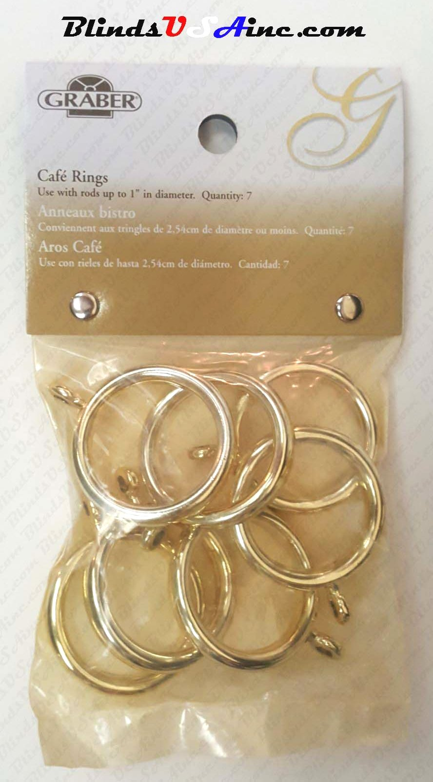 Graber Cafe Rings with Eyelet, pack of 7, finish brass, 1-1/4 inch inner diameter, Item # DCRng-820-8, Part # 5-820-8