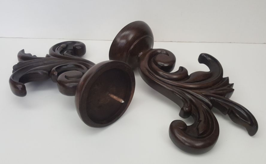 "Kirsch 3"" Buckingham Finials, Leaf Dance, Finish: New Mahogany"